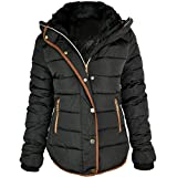 Fashion Thirsty Women's Quilted Hooded Winter Puffer Coat 4 Black
