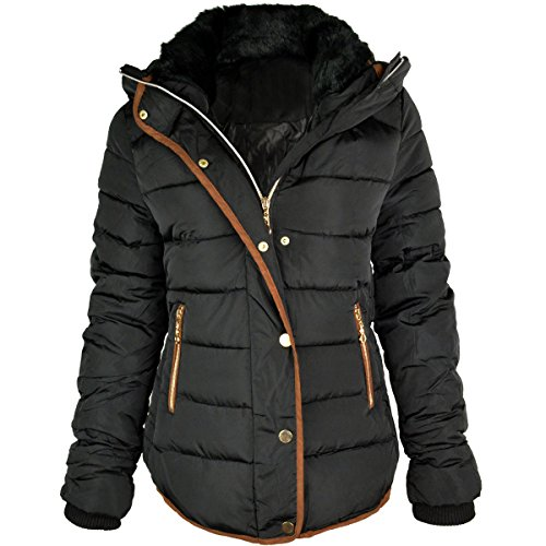 (Fashion Thirsty Women's Quilted Hooded Winter Puffer Coat 12 Black )
