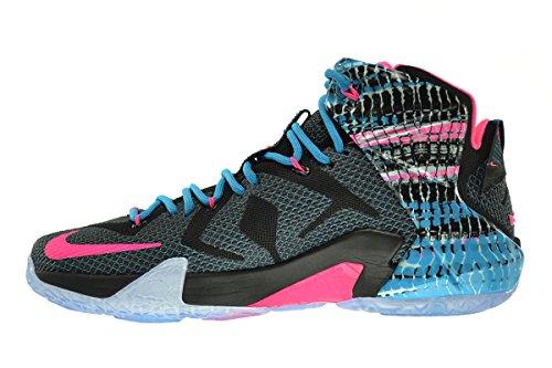 Nike Lebron Xii Kromosomer Mens Skor Svart-rosa Pow-blue Lagoon 684593-006