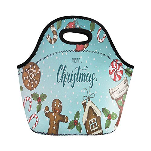 - Semtomn Neoprene Lunch Tote Bag Festive Christmas Holly Leaves Bells Gingerbread and Sock Greeting Reusable Cooler Bags Insulated Thermal Picnic Handbag for Travel,School,Outdoors,Work