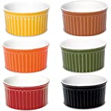 Oxford Porcelain Ramekin- Assorted Colors- Set of 6- 3.5 Oz Each