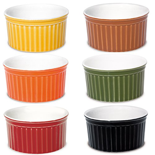 Black Round Souffle - Oxford Porcelain Ramekin- Assorted Colors- Set of 6- 3.5 Oz Each