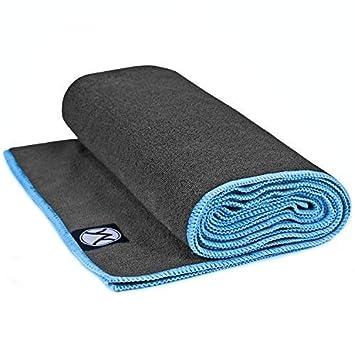 Youphoria Yoga - Toalla de yoga antideslizante de microfibra (61 x 183 cm), 24 x 72, Gray Towel/Blue Stitching: Amazon.es: Deportes y aire libre