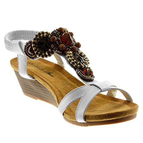 Angkorly Women's Fashion Shoes Sandals Mules - Ankle Strap - Slip-on - Jewelry - Fantasy - Crossed Thongs Wedge 5 cm White hj3UjZBB