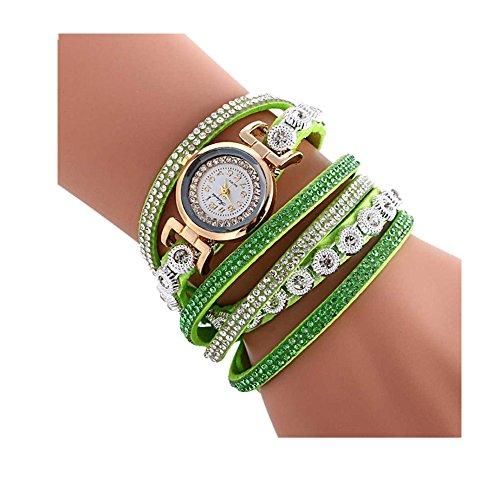 Oksale Women Fashion Winding Bracelet Metal Decorative Circle Quartz Watch (Green)
