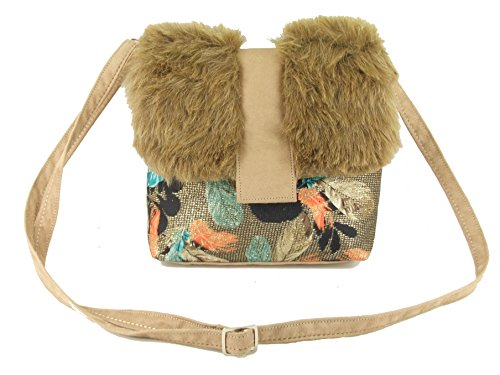 LONI Desire Cross-Body Shoulder Bag Tan Beige Faux Fur
