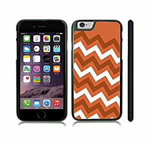 iStar Cases? iPhone 6 Case with Chevron Pattern Orange/ Brown/ White Stripe , Snap-on Cover, Hard Carrying Case (Black)