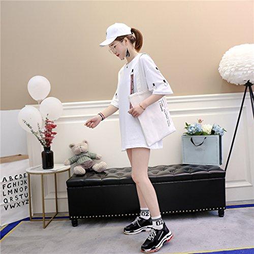Deaman Long Robe T À Manches Col Simple Été Pour Ample Taille Coréen Rond Moyen shirt Coton Blanc Courtes Grande Femmes wPN8nyvm0O