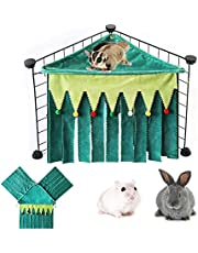 Three Sides Guinea Pig Hideout Forest Green Rabbit Hideout Crystal Velvet Rat Cage Accessories Small Animal Corner Hideout Corner for Guinea Pigs Ferrets Chinchillas Hedgehogs Hamster Dwarf Rabbits