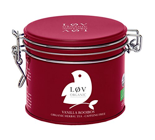 Løv Organic Vanilla Rooibos Tea - Rooibos and Vanilla Organic Blend With Relaxing and Antioxidant Properties Perfect for Tea Lovers Caffeine-free (3.5oz Tin 40 Servings)