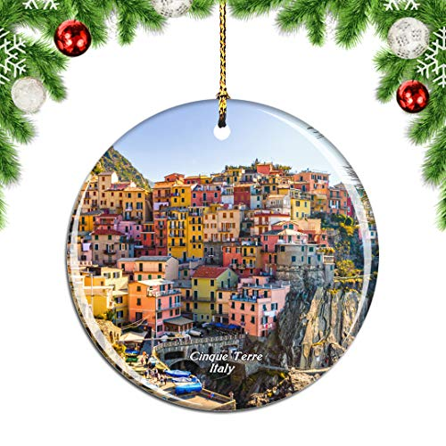 Weekino Cinque Terre Italy Christmas Xmas Tree Ornament Decoration Hanging Pendant Decor City Travel Souvenir Collection Double Sided Porcelain 2.85 Inch