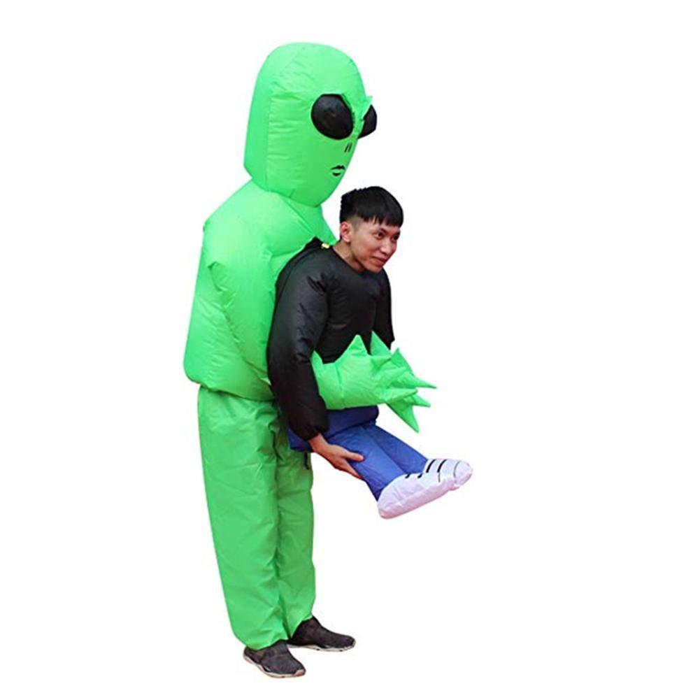 Halloween Spoof Inflatable Costume for Adult Men Women Fancy Dress Green Ghost Hugs Halloween Cosplay Costume Funny Show Props iBaste_S
