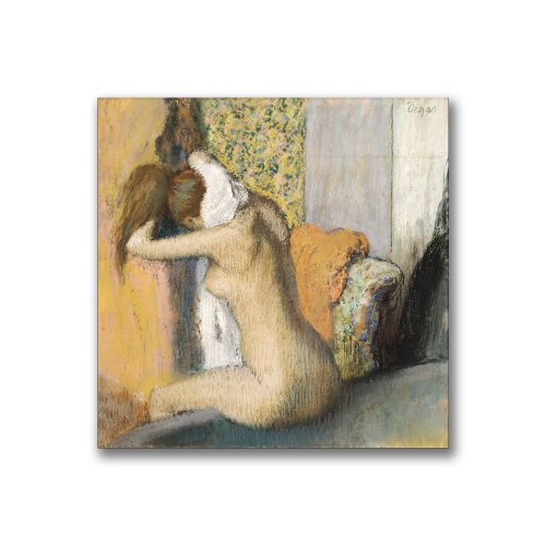 - After The Bath, Woman Drying Neck by Edgar Degas, 14x14-Inch Canvas Wall Art