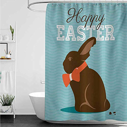 (home1love Long Shower Curtain,Easter Chocolate Bunny with an Orange Bow Tie on a Wavy Stripes Background,Bathroom Curtain Washable Polyester,W94x72L,Dark Brown Orange Pale Blue)