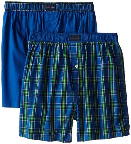 Tommy Hilfiger Men's 2-Pack Assorted Blues Woven Boxer Gift Set, Multi/Blue, X-Large/40-42
