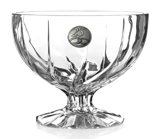 45860-25 Trix Collection Rcr Crystal Footed Bowl with Italian Silver Decal ()