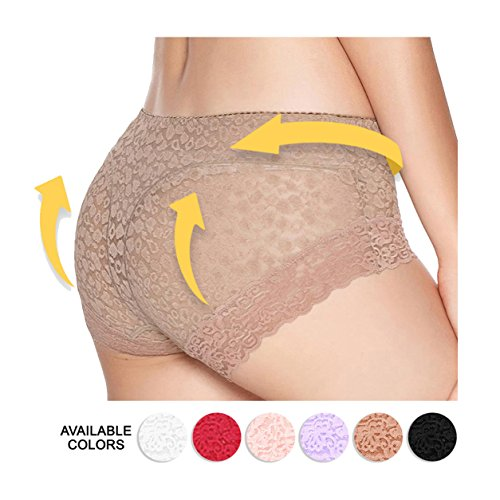 Eve's temptation Lily Everyday Panties Floral Lace Sliming Brief Sexy Lingerie Underwear For Women - Nude - (Fit Boyshort)