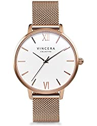 Vincero Luxury Woman's Eros Watch — Rose Gold + White dial with a Rose Gold Mesh Strap Band — 38mm Analog Watch...