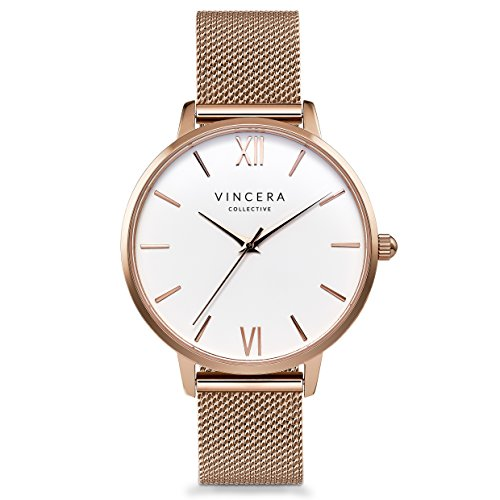 Vincero Luxury Womans Eros Watch  Rose Gold  White dial with a Rose Gold Mesh Strap Band  38mm Analog Watch  Japanese Quartz Movement