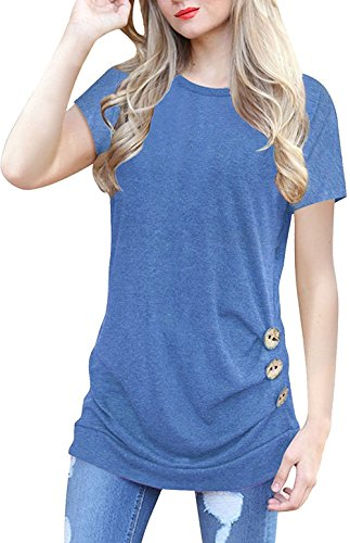 Lifenee1 Oversize Tops For Women Plus Size Short Sleeve Button Detail T-Shirt Blue 2XL
