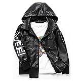 LJYH Boys'Hip hop Hoody Faux leather jacket letter Street Wear
