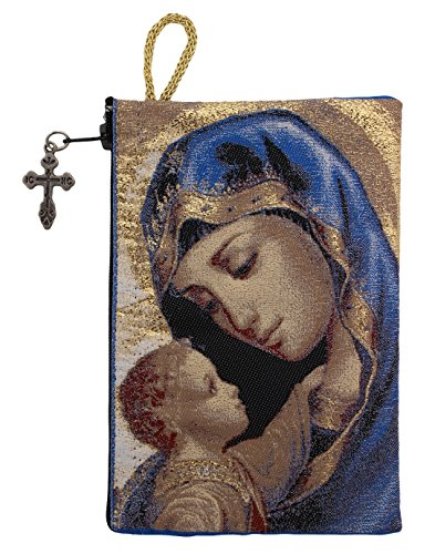 Blessed Virgin Mary Madonna and Child Icon Cloth Tapestry Rosary Pouch Keepsake Case 5 3/8 Inch (Religious Gifts Catholic)