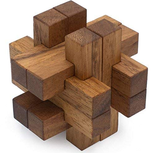 Nexus: Handmade & Organic 3D Brain Teaser Wooden Puzzle for Adults from SiamMandalay with SM Gift ()