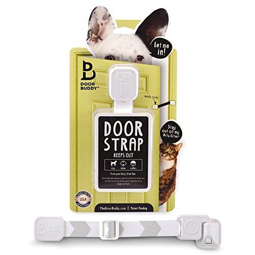 Door Buddy Adjustable Door Strap & Latch. Easy Way To Dog Proof Litter Box. No More Pet Gates Or Cat Doors. Convenient Cat & Adult Entry. No Tools Installation. Stop Dog Eating Cat Poop Today! (Grey) (Cat Plastic Pet Door)