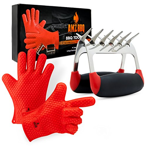 AMZ BBQ CLUB, BBQ Gloves and Metal Meat Claw Accessories with Heat-Resistant Silicone Glove and Meat Shredder Red