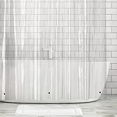 "mDesign STALL Sized Waterproof, Mold/Mildew Resistant, Heavy Duty Premium Quality 10-Guage Vinyl Shower Curtain Liner for Bathroom Shower Stall and Bathtub - 54"" x 78"" - Clear - WATERPROOF: No more slippery wet floors - This curtain is waterproof so that you can keep your bathroom floors free from splashes and sprays of water; Made to withstand damp, moisture rich bathroom environments; Protect your decorative shower curtains and keep them dry by using this liner; This shower curtain liner will complement any bathroom color scheme at any home, apartment, condo, hotel, dorm, school shower, athletic club, and gym WEIGHTED HEM: Made from heavy duty vinyl with 3 encased magnets in the bottom help to keep the liner in place and reduce billowing; Water and soap will glide right off and not collect in hems - keeping the shower liner clean for a safer shower and tub environment RUSTPROOF GROMMETS: 9 reinforced grommets make it easy to install with most types of hooks or rings (not included); The reinforced top hem ensures that the curtain will not be easily torn or get pulled out of shape; Stall sized for small showers; mDESIGN TIP: Check your space to ensure that you have the curtain of the appropriate width, this is much narrower than a standard shower curtain which is typically 72 inches wide - shower-curtains, bathroom-linens, bathroom - 51t8G79a2gL. SS400  -"