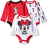 Apparel : Disney Baby Girls' Minnie Mouse 3 Pack Long Sleeve Bodysuits