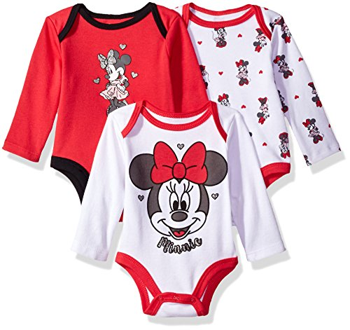 Disney Baby Girls' Minnie Mouse 3 Pack Long Sleeve Bodysuits, White/Barberry, 3/6M