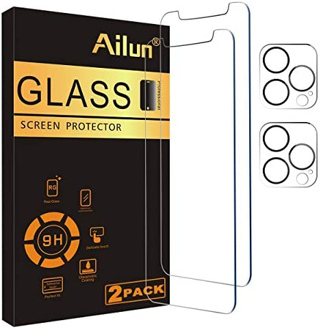 Ailun 2 Pack Screen Protector Compatible for iPhone 12 Pro Max[6.7 inch] + 2 Pack Camera Lens Protector,Case Friendly Tempered Glass Film,[9H Hardness] – HD
