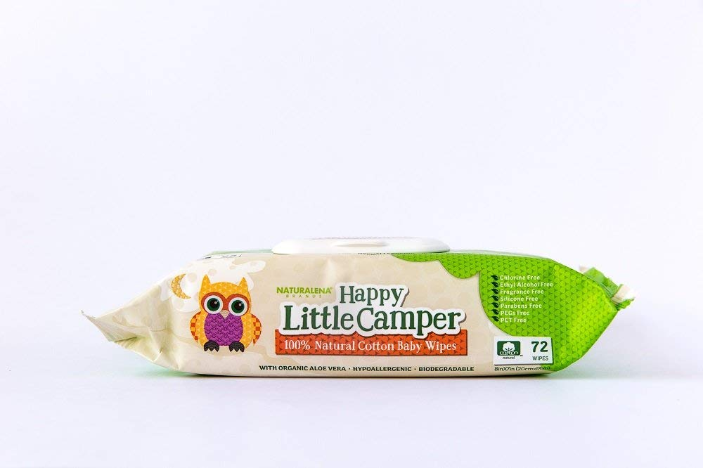 Happy Little Camper Baby Wipes All-Cotton with Organic Aloe 72 Count Sensitive Skin Natural