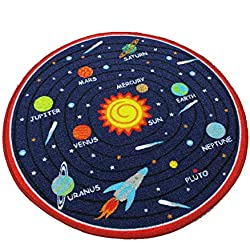 "HUAHOO Kids Rug Educational Learning Carpet Galaxy Planets Stars Blue Children's Fun Area Rug Nursery Rugs Solar System Rectangle Rug (Round Solar System, 39"" Round)"
