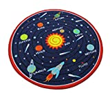 Kids Round Rug Solar System Learning Area Rug Children's Fun Area Rug - Non Slip Bottom (Solar System, 47'' Diameter Round)