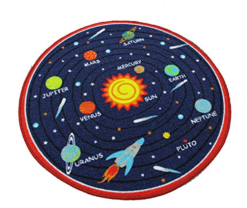 Kids Round Rug Solar System Learning Area Rug Children's Fun Area Rug - Non Slip Bottom (39'' Diameter Round) (Red) by HUAHOO