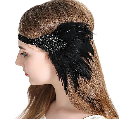 Cap Headpiece (Vintage Flapper Headband 1920s Art Deco Gatsby Feather Headpiece Sparkling Hair Accessories Black)