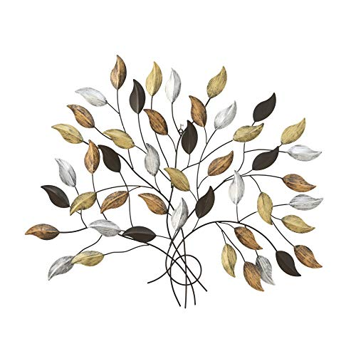 WHW Whole House Worlds Tree of Life, Wall Art, Silver, Gold and Copper Leaves with Brown Branches, Artisan Crafted, Distressed Rubbed Rustic Finish, Lacquered Iron, 40 1/2 Wide x 35 3/4 Inches Tall