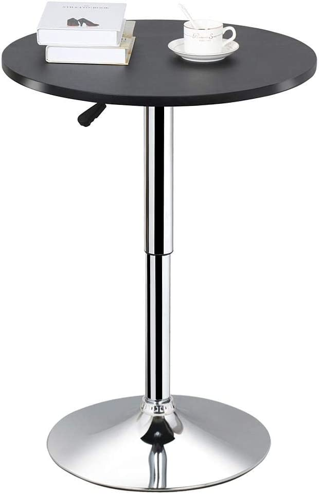 Kitchen Breakfast Dining Bistro Bar Stand 1m Tall Round Tempered Glass Table