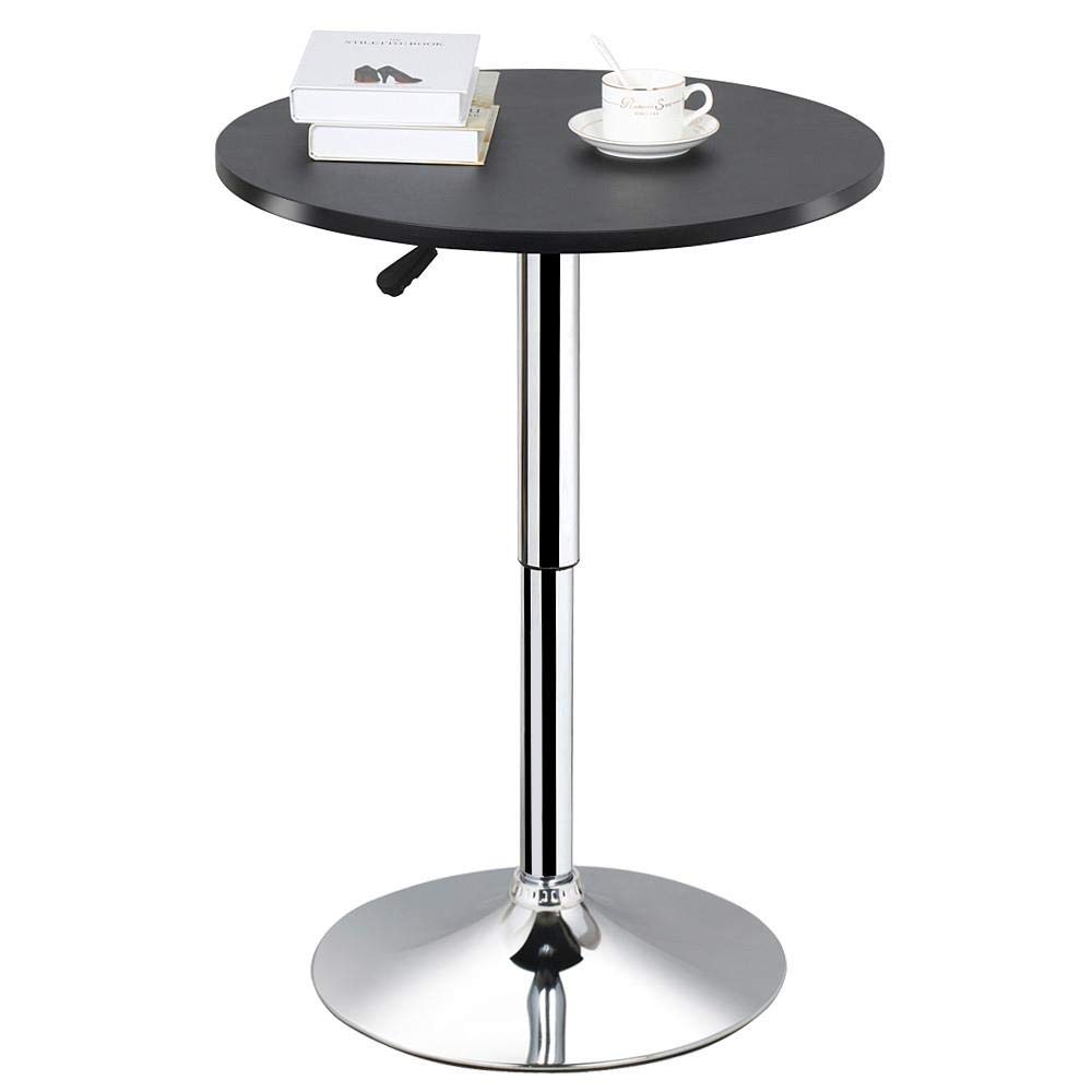 Topeakmart Adjustable Round Pub Table Counter Bar Height MDF Top Table 306° Swivel Bar Tables Tall Cocktail Tables Bistro Table by Topeakmart