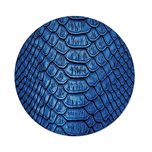 (Polyester Round Tablecloth,Animal Print Decor,Colored Snake Skin Pattern Alligator Fancy Luxury Leather Clothing Artwork Home Decor,Blue,Dining Room Kitchen Picnic Table Cloth Cover,for Outdoor Indoo)