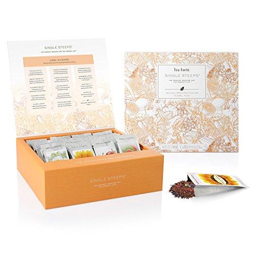 Tea Forté SINGLE STEEPS Loose Leaf TEA CHEST, 28 Different Single Serve Pouches - Herbal Tea (Herb Leaf Single)