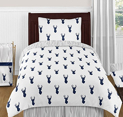 Sweet Jojo Navy Blue Gray Deer Forest Boys Kids Twin Bedding