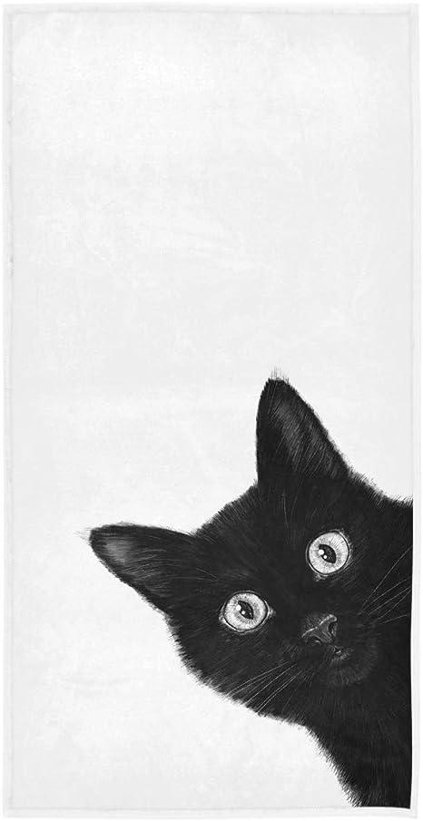 BLACK TOWEL CAT//KITTEN FACE DESIGN FINGERTIP TOWEL EMBROIDERED TOWEL