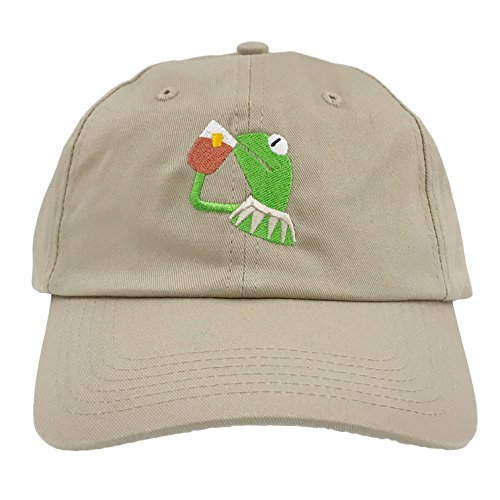 c43949c7da0a4 SYWHPS Kermit The Frog Dad Hat Cap Sipping Sips Drinking Tea Champion  Lebron Costume (Tan) - Buy Online in Oman.