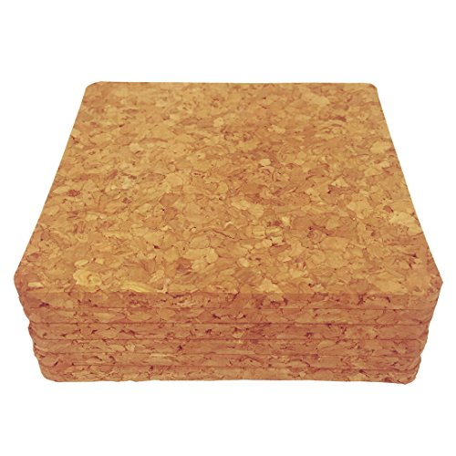 "Square Cork Coaster Backing of 4"" x 4"" , 1/4-Inch Thick, Pack of 6, Cork Drink Coasters from Laucork (6)"