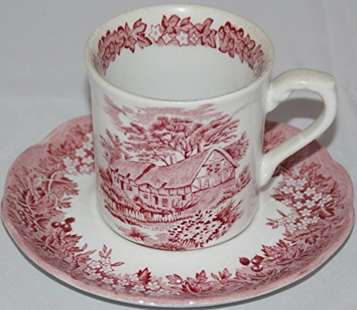 J & G Meakin Romantic England Red Flat Cup & Saucer Set Anne Hathaway's Cottage
