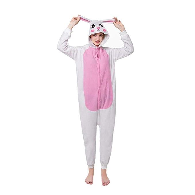 DASENLIN Pijama Cosplay con Unisex Ropa para Mujer Mono Animales De Dibujos Animados, Conejos Blancos
