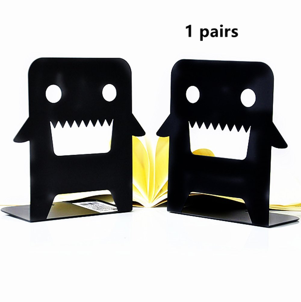 Leoyoubei Grimace Book Racks Decompression Art Bookends 1 pairs Desk Accessories & Workspace Organizers, Kids bedroom Or playroom, office or gift -small books, CD and DVD,Funny face modeling (black)